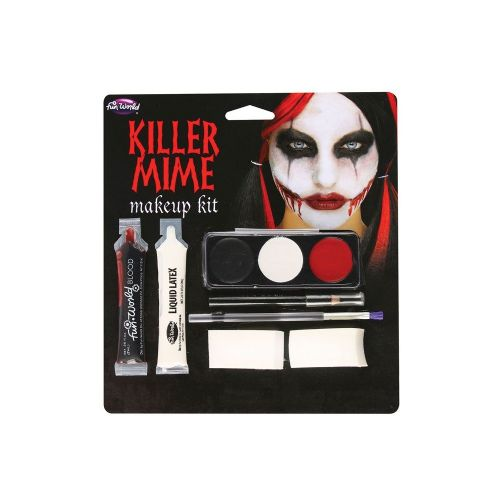 Killer Mime Makeup Set Halloween Murderer Villian Fancy Dress Cosplay